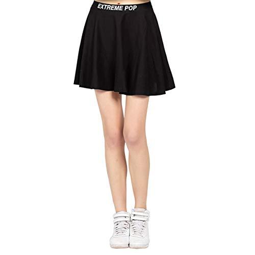 Damen Kurze Röcke Elastische Taille Sport Kleid Mädchen Tennis Rock Vielseitig Stretchy Ausgestelltes Jersey Shorts Lässige Skater Rock Grau Blau und Schwarz (L, Schwarz)