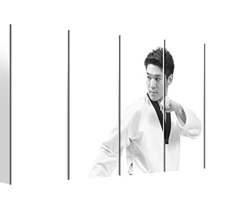Leinwandbilder 5 teilig XXL 200x100cm schwarz weiß Taekwondo Sport Gürtel Pose Karate Druck auf Leinwand Bild 9BM2480 -