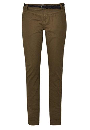 Urban Surface Damen Chino-Hose I Elegante Stoffhose mit Flecht-Gürtel aus Bequemer Baumwolle Dark-Green XS