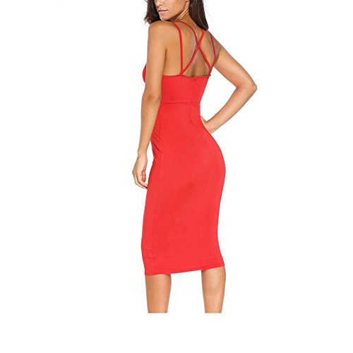 PU&PU Femmes Casual / Sorties Courroies Halter Deep V Bodycon Robe, sans manches Open Back red