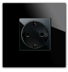Preisvergleich Produktbild Schwarze, moderne Steckdose MAXIM. 1fach. Komplettes Set. Made in Germany.