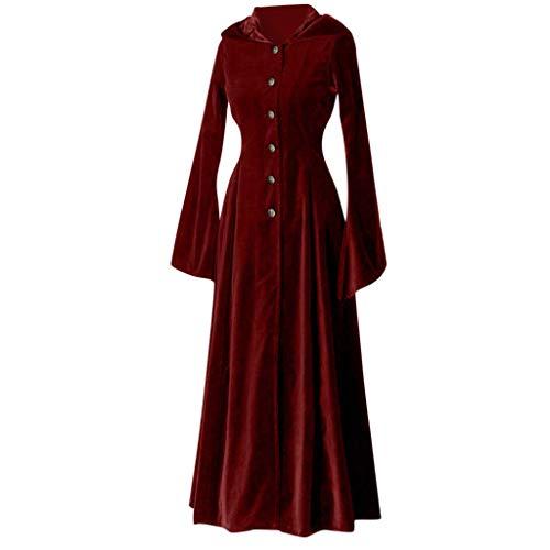 Damen Mittelalterkleid Frauen Mittelalterlichen Vintage Buttons Taille mit Kapuze Langarm Elegant...