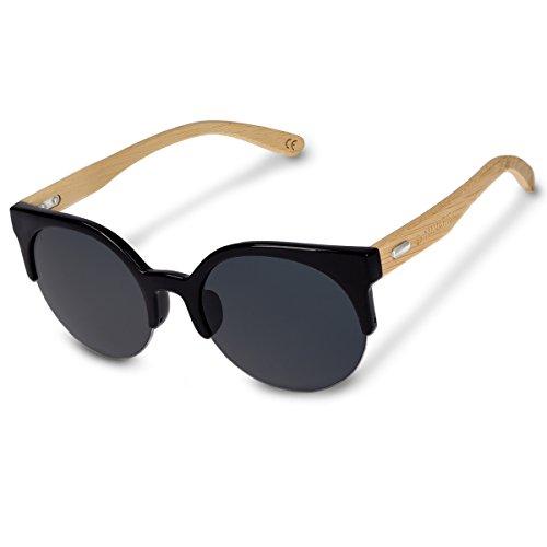 Navaris Holz Sonnenbrille UV400 - Damen Herren Retro Brille Holzoptik - Unisex Bambus Holzbrille mit...