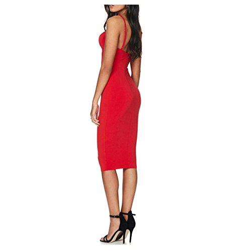 Rosennie Damen Hohl Aus Bodycon Schlank Mini kleid Rot