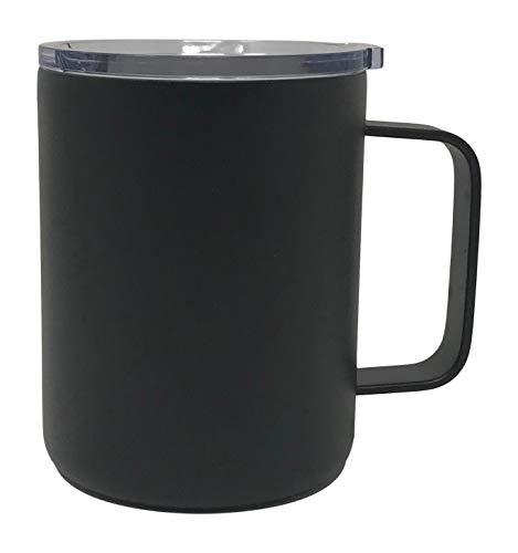 elstahl, bruchsicher, doppelwandig, vakuumversiegelt, isoliert, mit Deckel, Strohhalm und Reinigungsbürste, verschiedene Farben 14 oz Coffee Mug - 1 Pack schwarz ()