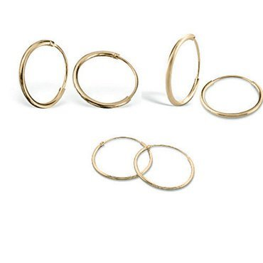 3 Pair set Sterling Silver Gold Flashed Sleeper Endless Hoop Earrings includes 8, 10 & 12mm Silver Pearl Set
