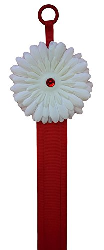 White Daisy with Red Ribbon : Gerber Daisy HAIR BOW HOLDER and Organizer By Funny Girl Designs - ACCESSORIES STORAGE