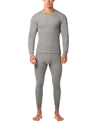 Lapasa uomo set intimo termico in cotone waffle knit - materiale naturale - maglia maniche corte & pantaloni invernali per uomo m60 (medium, grigio)
