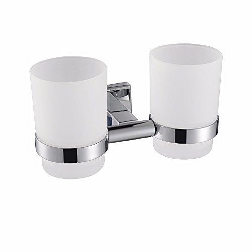 Salle de bains accessoires moderne 304 en acier inoxydable chrome carré, double coupe brosse à dents porte-gobelet 175x96x100 MM