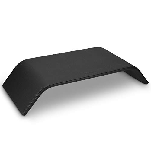 Navaris Monitorständer aus Holz mit Kunstlederbezug - Bildschirm Erhöhung TV Ständer - Computer Tisch Schreibtisch Monitor Stand in Schwarz (Schreibtisch-monitor-sockel)