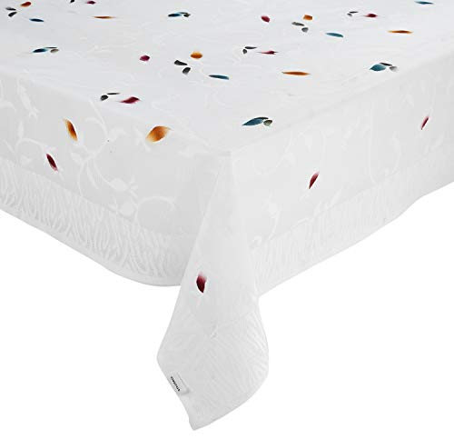 Amazon Brand - Solimo Dining Table Cover, Leaf, White