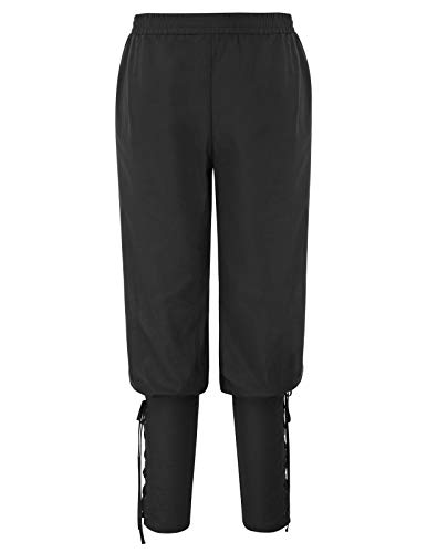 Männer Renaissance Elastische Taille Baumwolle Knöchel Hose Schwarz Größe XL