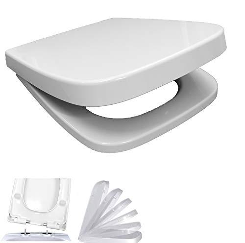 WC-Sitz mit Absenkautomatik Softclose eckig | passend für Keramag Renova Nr. 1 Plan | abnehmbar | weiß | Edelstahlscharnier | TakeOff Quick-Release Funktion | Toilettendeckel Klodeckel