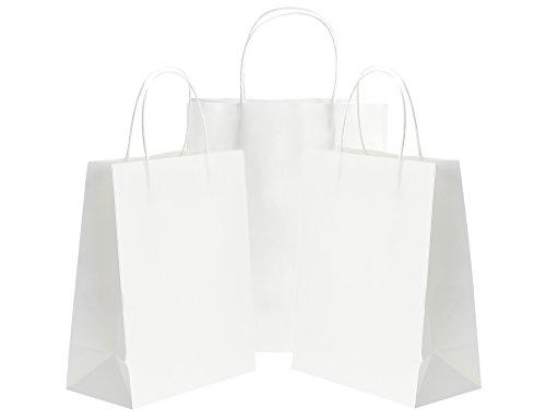 tück Medium Weiß Papiertüten mit verstärkten verdrehten Griffen für Hochzeitsgeschenke, Baby-Duschen, Kunst & Handwerk Projekte, Party, Geschenke, Färbung, Geburtstage, Einkaufen, Einzelhandel Taschen, Papier partytüten (21 x 11 x 27cm / 8.3'' x 4.3'' x 10.6'') (Papier-geschenk-taschen Mit Griffen)