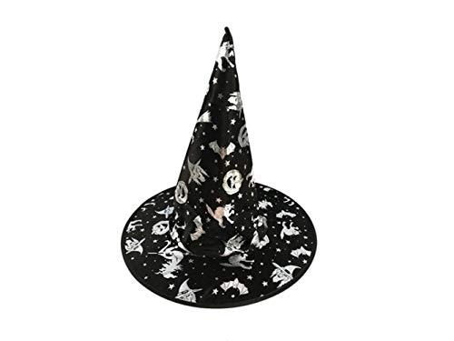 DOOUYTERT Künstliche Blumen Creative Wizard Hut Hexen Spitz Hut für Halloween Ostern Weihnachten Kostüm Zubehör (schwarz + Silber) Hochzeitssträuße (Farbe : Silver, Größe : - Silber Hexe Kostüm