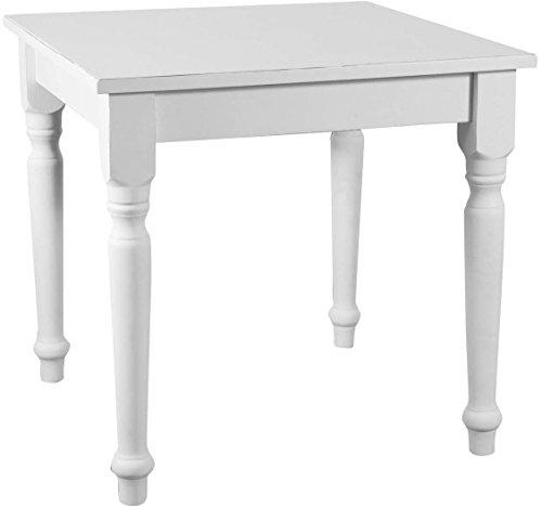 Biscottini Table Non Extensible Style champêtre en Tilleul Massif, Finition Blanche Antique L80xPR80xH78 cm