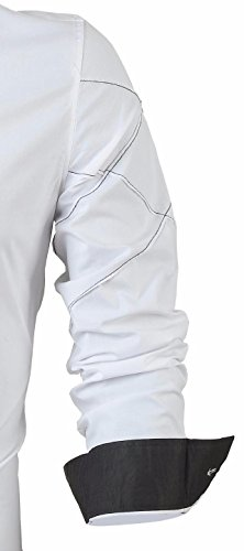 jeansian Herren Freizeit Hemden Shirt Tops Mode Langarmlig Men's Casual Dress Slim Fit 2028 2028a_White