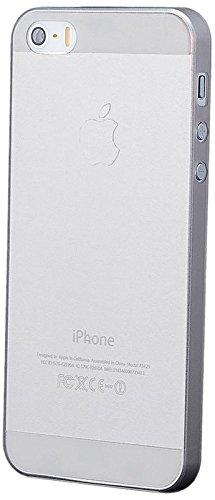 iCues Apple iPhone SE / 5S / 5 |  Zero Matt Case Schwarz | [Display Schutzfolie Inklusive] Extra Leicht sehr Dünn Transparent Klarsichthülle Durchsichtig Klare Klarsicht Schutzhülle Hülle Cover Schutz Grau