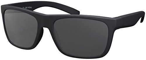 Sonnenbrille UV 400 La Optica Herren Männer Leicht Sport Fahrradbrille - Gummiert Schwarz (Gläser: Grau)