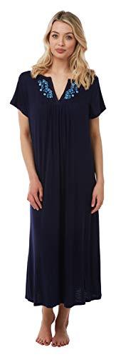 Suzy & me camicia da notte da donna, taglie forti, a maniche corte, ricamata, in jersey, 8 colori marina militare 30-32