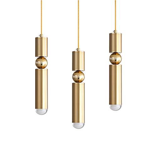 LARRY SHELL 3 Stücke LED Gold Moderne Nordic Acryl Pendelleuchte, Unterputz Esszimmer Hängeleuchten Decke, Einstellbare Halter Scheinwerfer, für Kücheninsel Beleuchtung -