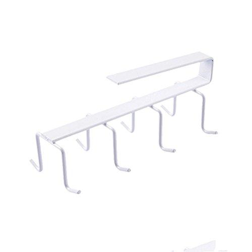 bestomz Hänger–Hänger Gläser Edelstahl Tür Haken für Küche Bad WC Büro (weiß)