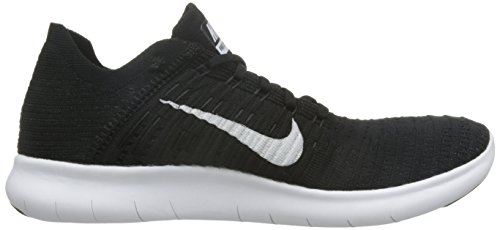 Nike Free Rn Flyknit, Chaussures de Running Entrainement Femme Blanc Cassé - Blanco (Black / White)
