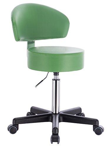 PROFI Rollhocker Drehhocker - Modell SQUASH BIGBACK von 1stuff - Sitzhöhe 52 bis 72cm - bis 180kg - PU-Rollen für Hartböden - 11cm Polsterung - Drehstuhl, Arzthocker, Arbeitshocker, Praxishocker (Lederimitat grün inkl. Lehne BIGBACK)