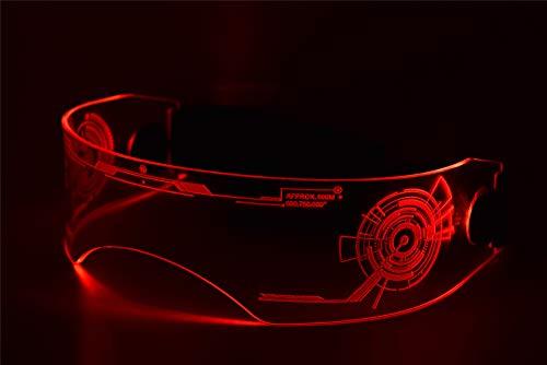 ASVP Shop Fursuit Kostüm LED Visier Brille Cyberpunk Tron CyberGothic Cosplay Pelry - Rot - Einheitsgröße