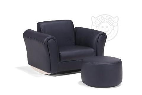 Rocking Chair Fauteuil PU Cuir Noir Enfant Avec Repose-pieds