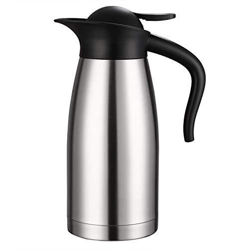 Deuba Thermoskanne Isolierkanne 1,5L Edelstahl mit Einhandbedienung doppelwandig bruchsicher Kaffeekanne Teekanne