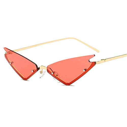 Jeewly Klassische Sportsonnenbrille, Cat Eye Sunglasses Half Frame Red Mirror Eyewear Triangle Glasses Men UV400