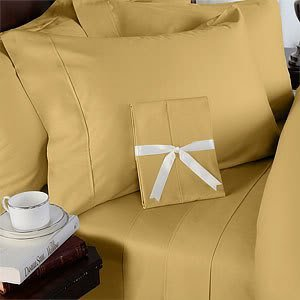 Egyptian Bedding Rayon From Bamboo Sheet Set - King Size Gold 1000 Thread Count Cotton Sheet Set (Deep Pocket)