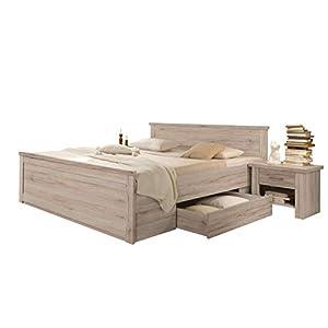 trend-moebel Bett Doppelbett Bettanlage 180×200 cm mit 2 Nachtkommoden Eiche Sanremo-hell Luca Komforthöhe