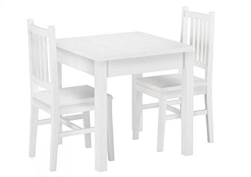 90.70-52 W Set Schöne Essgruppe mit Tisch und 2 Stühle Kiefer Massivholz (Kleiner Weißer Küchentisch Set)