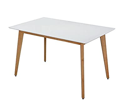 ASPECT Avignon Rectangular Dining Table with Solid Wooden Legs, Wood, White - low-cost UK light store.