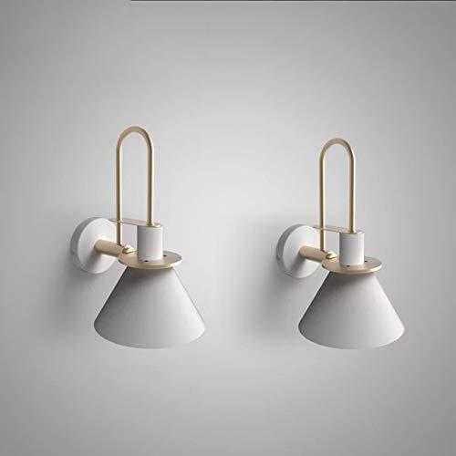 Vintage Wandlampe Metall Wandleuchte UL Schwarz Hardwire Industrial Fixture Simplicity Wandleuchten E27 Lichtquelle, Schwarz/Grün/Weiß (Color : White-2-set) - Wand-lampen-schnur-abdeckungen