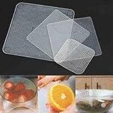 Kriya Enterprises Reusable Food-Grade Silicone Food Wraps Seal Covers Keep Food Fresh, Transparent Set Of 4 Pieces