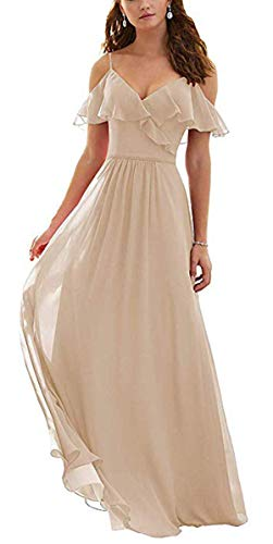 Dorliki A-Linie Gekräuselt Kalte Schulter Chiffon Lange Kleid der Brautjungfer Abendkleider Champagner 52