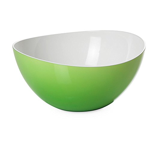 Omada Design Salad Bowl 108 fl OZ (3.2 Lt), Two-Tone Unbreakable Plastic, 100% Made in Italy, Dishwasher Safe, 10.25 x 10.25 x h 5 in (26 x 26 x 12.5 cm),Trendy Line,Green.