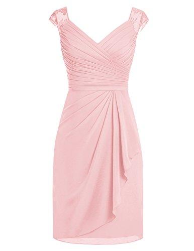 Dresstells Kurz Chiffon V-Ausschnitt Brautjungfernkleider Homecomingkleider Rosa