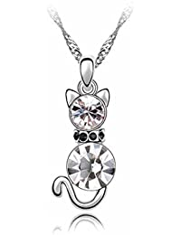 VANKER 1Pc collar de cadena preciosa forma de gato encanto de cristal de diamante color blanca