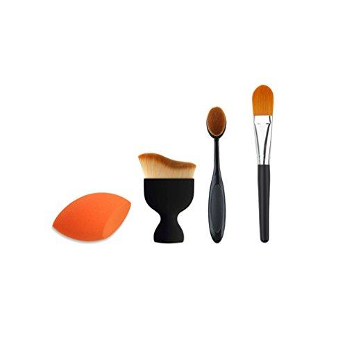 Blender Beauty Reiniger Pro (JasCherry Pro 3 Stück Make Up Pinselset + 1 Schwamm Puff - Professionellen Kosmetik Schmink-pinselset für Foundation Concealer Lidschatten etc.)