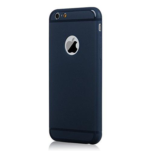 YOKIRIN Coque iPhone 6 4.7 Pouces Housse Étui TPU Silicone Souple Découp du Logo Phone Case Cover Ultra Mince Gel Slim Personnalité Pratique - Noir + Bleu Foncé Rose + Bleu Foncé