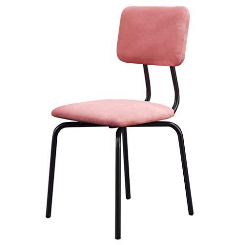 JBD Esszimmerstühle Metallbeine für Esszimmerstühle Bar-/Pub-Hocker mit mittlerer Rückenlehne, gepolsterter moderner Freizeitstuhl, Sitz aus rosa Samt -