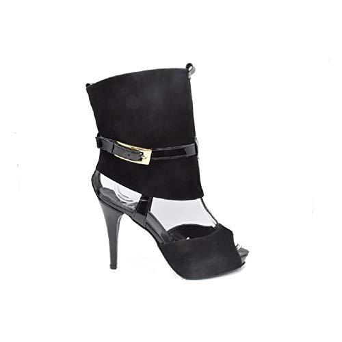 Bata sandalo tronchetto donna camoscio nero con tacco made in italy (39 eu, nero)