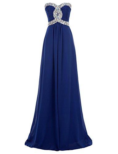 Erosebridal Schatz Abendkleider Formale Chiffon Ballkleid Königsblau DE 40