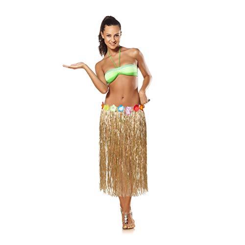 Relaxdays 10024315 Hawaii Rock, Bunte Hibiskus-Blüten, Klettverschluss, Fransen Hularock für Damen & Herren, 80 cm lang, Natur