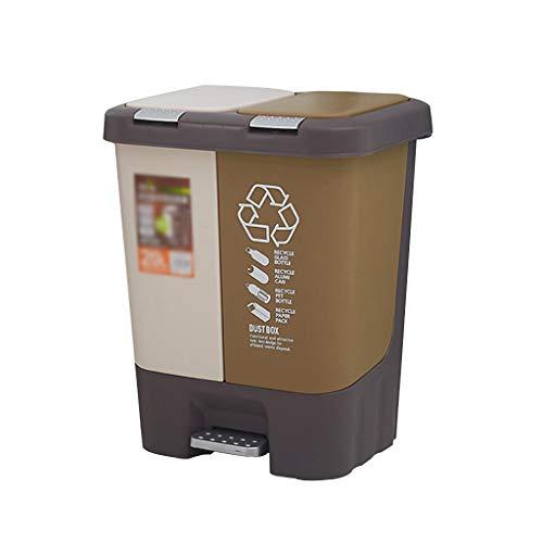 Zm Cubo de Basura de Doble Capa, Cubo de Basura de plástico con Tapa, Cubo de Basura de Tipo Pedal para Cocina, Sala de Estar, Dormitorio