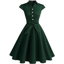 WedTrend Robe Vintage 50's 60's Style Audrey Hepburn avec Boutons de cœur WTP10007 ForestGreen S